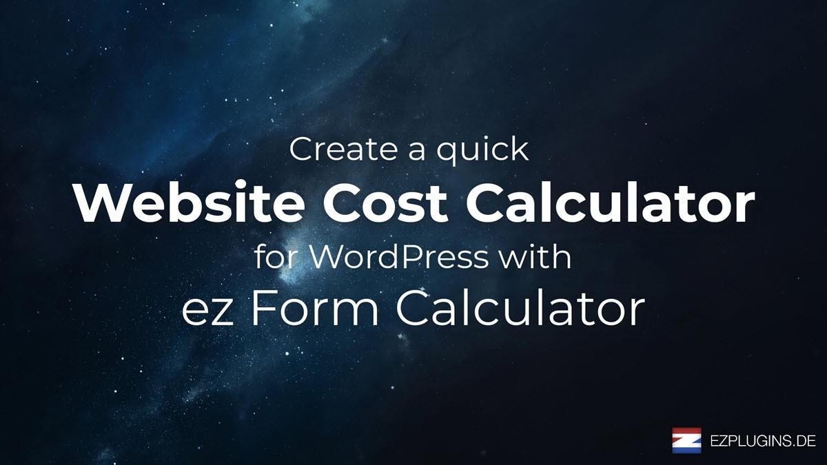 Create a Website Cost Calculator in WordPress