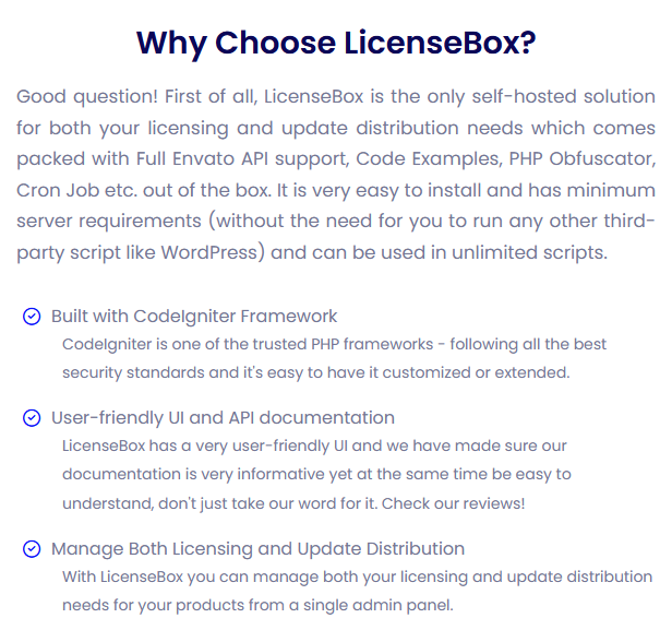 LicenseBox is a full-fledged licenser and updates manager
