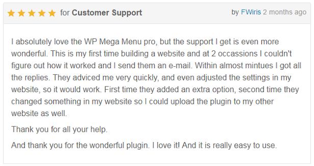 WP Mega Menu Pro - Customer Reviews